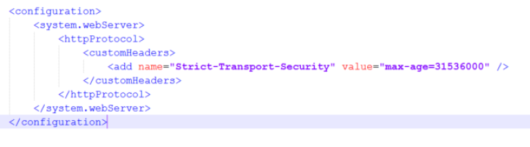 Add Strict-Transport-Security in web.config