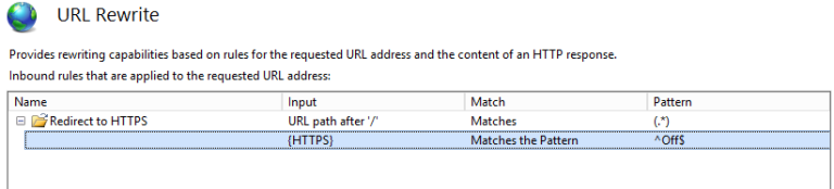 IIS UrlRewrite 2.0 HTTPS redirect rule